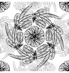 Monochrome circular pattern Round kaleidoscope vector