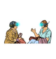 Older women in virtual reality vr glasses vector