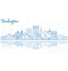 Outline burlington iowa skyline with blue vector