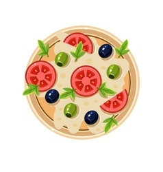 Pizza with Tomatoes and Olives Served Food vector