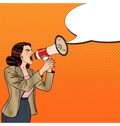 Pop Art Business Woman Shouting in Megaphone vector