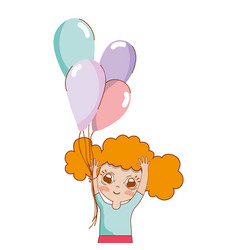 Pretty girl with balloons and casual wear vector