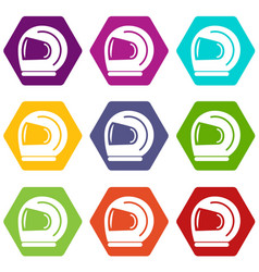 racer helmet icons set 9 vector image