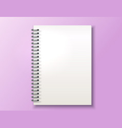realistic blank spiral notebook with rings vector image