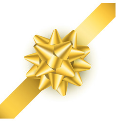 realistic detailed 3d golden gift bow vector image