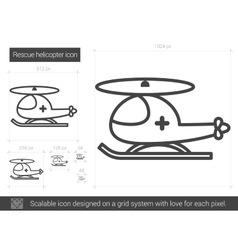Rescue helicopter line icon vector image
