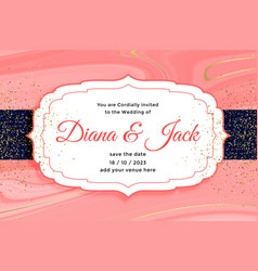 Royal wedding card invitation with golden glitter vector