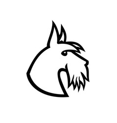 scottish terrier head side black and white vector image