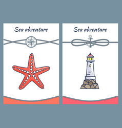 sea adventure posters set vector image