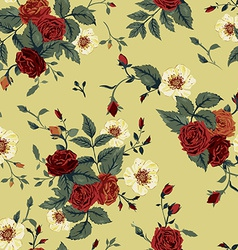 Seamless floral pattern with red and white roses vector image