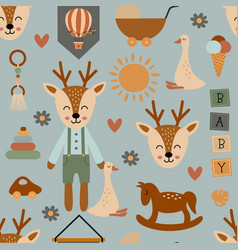 seamless pattern with cute deer vector image
