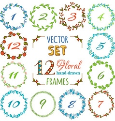 Set of 12 hand-drawn floral frames vector