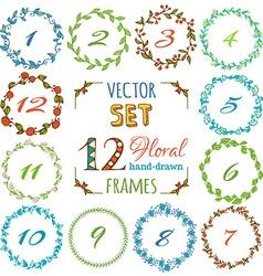 set of 12 hand-drawn floral frames vector image
