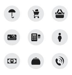 Set of 9 editable trade icons includes symbols vector
