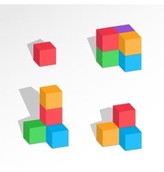 Set of cube combinations Four five six blocks vector