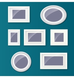 Set of different picture frames and pictures vector