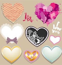 Set of paper lace metall hearts elements for valen vector