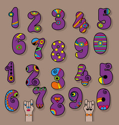 Set of purple vintage numerals vector