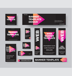 set standard black web banners with purple vector image