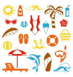 set summer and beach objects vector image
