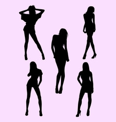 skinny woman silhouette vector image
