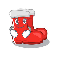Smirking santa boots on cartoon shoe rack vector