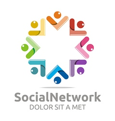 social network people star colorful design logo vector image