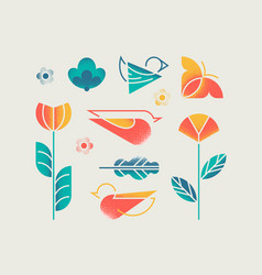 spring objects set vector image
