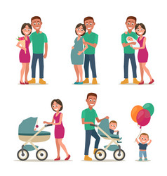 Stages creating family love pregnancy birth vector