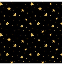 Stars seamless pattern gold black 3D retro vector