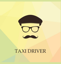 Taxi driver icon man with hat and moustache vector