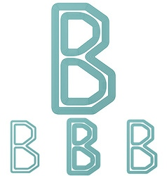 Teal b letter logo design set vector image