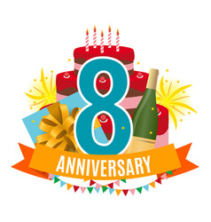 template 8 years anniversary congratulations vector image