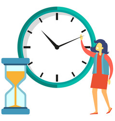 Time management tracking concept woman vector