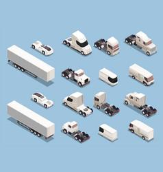 trucks transportation isometric icons vector image
