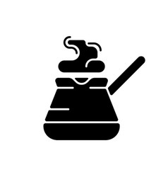 Turkish coffee pot black glyph icon vector