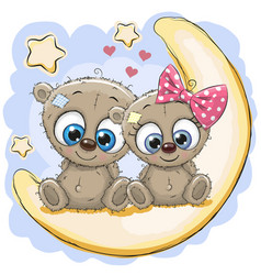 Two cute bears on the moon vector