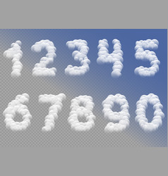 White cloudy numbers vector