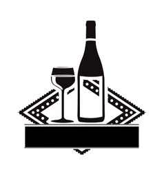 Wine glass and bottle emblem icon image vector