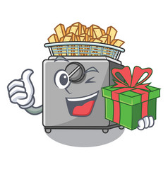 With gift cooking french fries in deep fryer vector