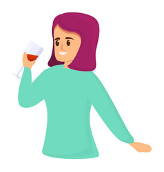 Woman sommelier icon cartoon style vector
