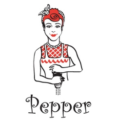 Woman with pepper shaker vector