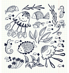 floral set with doodle marine life inhabitants vector image
