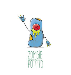 funny cartoon cute blue zombie potato vector image vector image