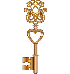 Golden Key with Heart vector image