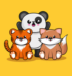 cute animals characters kawaii style vector image
