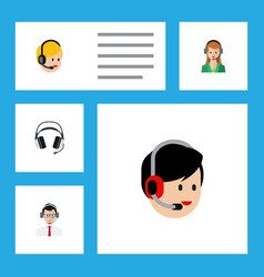 flat call set of secretary call center earphone vector image