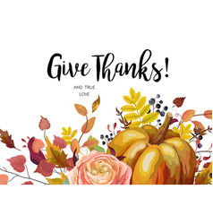 happy thanksgiving floral watercolor style card vector image