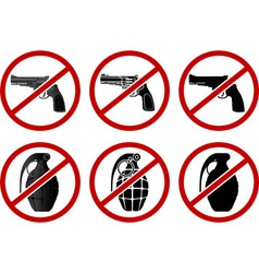 no pistols and grenades vector image