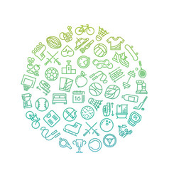 sport tools line icons in circle design vector image vector image